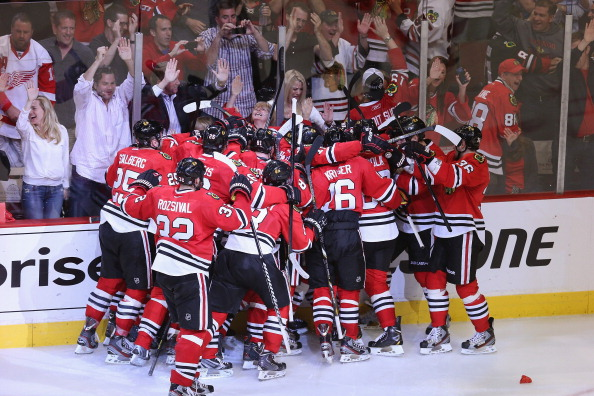 The team celebrates after the Chicago Blackhawks Biggest Game ended in a win.