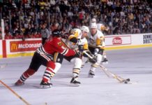 Players duel during the Pittsburgh Penguins best game in franchise history.