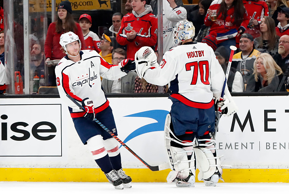 Headliners of many NHL rumours, Niklas Backstrom and Braden Holtby, celebrate a goal; 2019-20 Washington Capitals