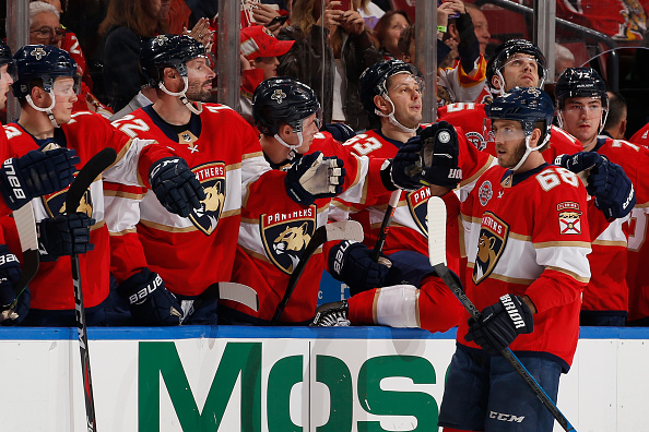 The Florida Panthers celebrate a goal, much like they should celebrate the terrific Florida Panthers off-season.