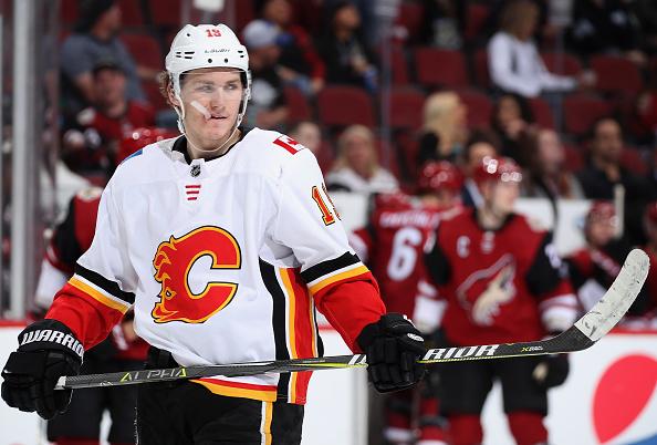 A common headliner of NHL rumours, Matthew Tkachuk, skates around during a game.