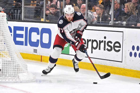 Josh Anderson, a crucial part of the 2019-20 Columbus Blue Jackets, skates with the puck.