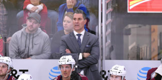 Jared Bednar looks onward during a game.