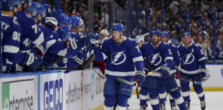 The team celebrates a goal, something the 2019-20 Tampa Bay Lightning hope to do often.