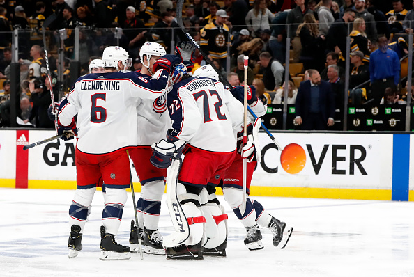The team congratulates their star goaltender, something the 2019-20 Columbus Blue Jackets hope to do quite often.