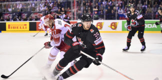 Anthony Mantha looks to reel in the puck during the IIHF World Championship.