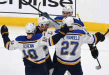 Mainstays of future NHL rumours, Alex Pietrangelo and Brayden Schenn, celebrate a goal.