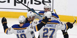 Mainstays of future NHL rumours, Alex Pietrangelo and Brayden Schenn, celebrate a goal.