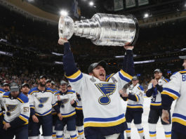 The likely leaders of the 2019-20 Central Division, the St. Louis Blues, celebrate their 2019 Stanley Cup win; 2018-19 St Louis Blues.