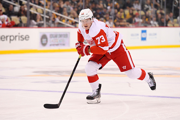 Adam Erne, who is joining the 2019-20 Detroit Red Wings, skates during a game.