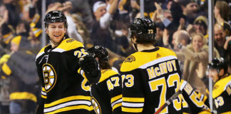 Charlie McAvoy and Brandon Carlo celebrate a goal.