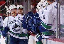 Henrik Sedin, the most recent Vancouver Canucks captain, celebrates a goal.