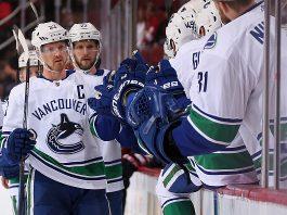 Henrik Sedin, the most recent Vancouver Canucks captain, celebrates a goal.