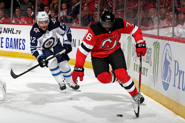 Mark Letestu chases down P.K. Subban of the New Jersey Devils