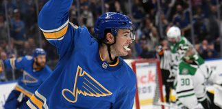 Fantasy Hockey star Sammy Blais celebrates a goal.