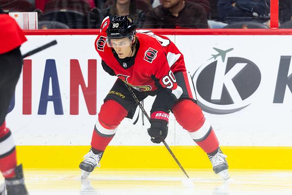 Vladislav Namestnikov, headline of recent NHL rumours, lines up with his new team, the Ottawa Senators.