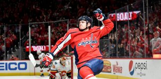 Recent fantasy hockey star Jakub Vrana celebrates a goal.