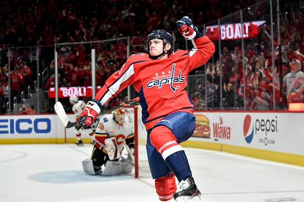 Recent fantasy hockey star Jakub Vrana celebrates a goal.