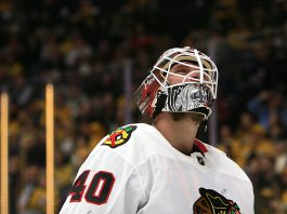 Lehner, the star of the Chicago Blackhawks goalies, looks onward.