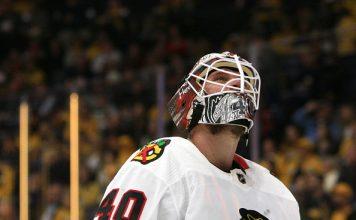 Lehner, the star of the Chicago Blackhawks goalies, looks onward.