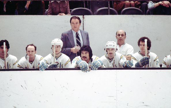 Head-coach-jack-evans-of-the-california-golden-seals-looks-on-from-picture-id667933430