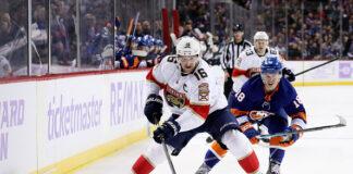 Alexsander Barkov of the Florida Panthers against the New York Islanders