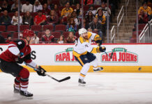 Ryan Ellis of the Nashville Predators playing against the Arizona Coyotes