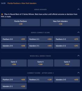 Florida Panthers at New York Islanders series prices