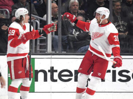 Tyler Bertuzzi #59 of the Detroit Red Wings celebrates his goal with Anthony Mantha #39