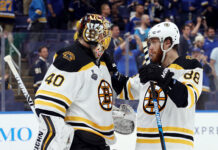 Tuukka Rask #40 and David Pastrnak #88 of the Boston Bruins