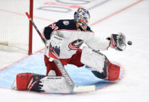 Columbus Blue Jackets goalie Elvis Merzlikins