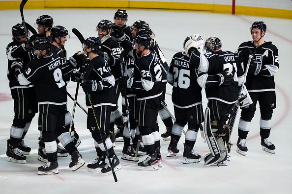 Los Angeles Kings celebrate their win