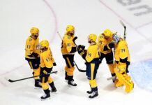 uuse Saros #74 and Filip Forsberg #9 of the Nashville Predators