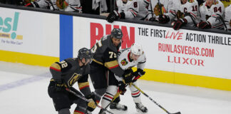Vegas Golden Knights left wing Tomas Nosek (92) in action during a regular season game against the Chicago Blackhawks