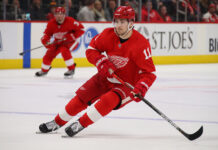 Filip Zadina #11 of the Detroit Red Wings