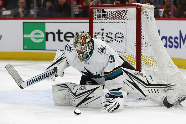 Aaron Dell #30 of the San Jose Sharks
