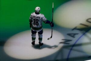 Jake Virtanen #18 of the Vancouver Canucks