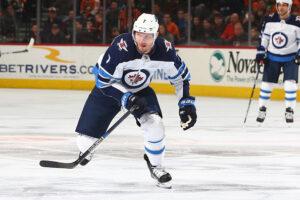 Dmitry Kulikov #7 of the Winnipeg Jets