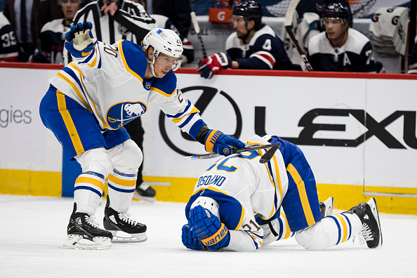 Buffalo Sabres Kyle Okposo Leaves Game After Being Hit With Puck