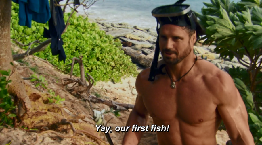 Johnny Survivor: John Hennigan catches a fish