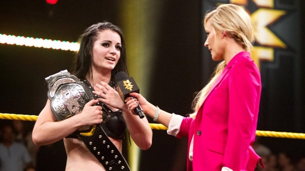 Paige as NXT Women's Champion during an interview