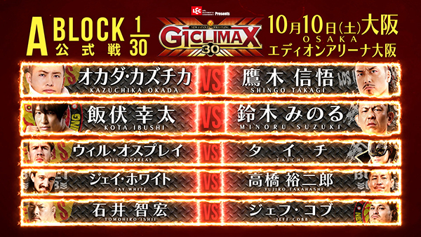 NJPW G1 Climax Day 13 A Block