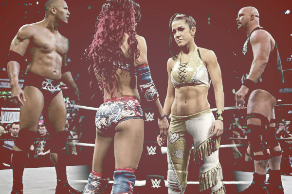 The Rock Steve Austin Bayley Sasha Banks