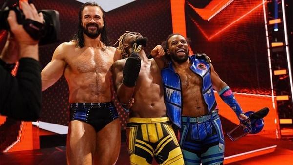 Kofi Kingston With Drew McIntyre and Xavier Woods