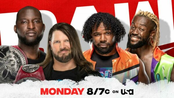 WWE Raw card AJ Styles Omos New Day