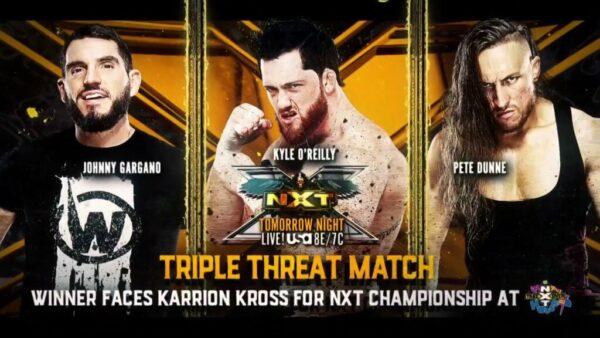 Johnny Gargano vs Kyle O'Reilly vs Pete Dunne WWE NXT card