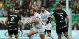 Fraser Balmain thankful for regular rugby in a Gloucester Rugby shirt