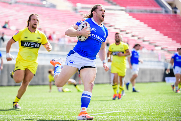 Dan Moor scores against the Houston Sabercats at Sam Boyd Stadium in Major League Rugby Vegas Weekend