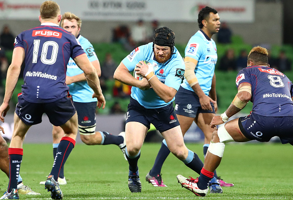 Paddy Ryan runs with the bal in Super Rugby action against the Rebels in 2018 at Melbourne, Australia