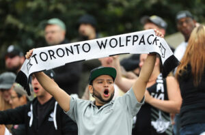Toronto Wolfpack fans at Allan Lamport Stadium in the Million Pound Game in 2018 against the London Broncos